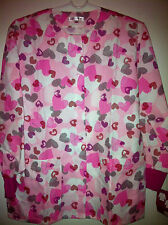 Lab coat Lab Jacket Warmup Scattered Hearts on Pink By Delta L, XL