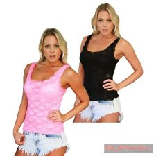 NEW SEXY SZ 8-10 WOMENS PARTY CLUB WEAR SLEEVELESS LACE SINGLET TOP PINK BLACK