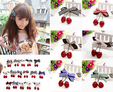 Fashion Lovely Cute Women Girl Retro Vintage Pink Bow Cherry Hair Clip Hairpin