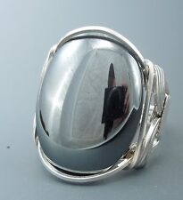 Large Sterling Silver Hematite Cabochon Wire Wrapped Ring