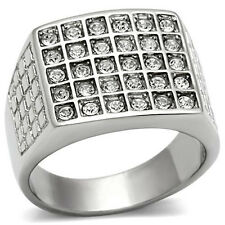 Mens Stainless Steel Top Grade Clear Crystal Ring Size 8, 9, 10, 11, 12, 13