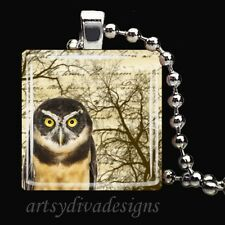 """POETRY OWL"" CALLIGRAPHY BIRD OWL GLASS TILE PENDANT NECKLACE KEYRING"