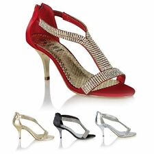 Womens Ladies Wedding Prom Party Shoes High Heel Diamante Sandals