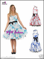 Womens Rockabilly Floral Swing Prom Dress Vintage 50s Size 8 - 18 in 3 Colours!