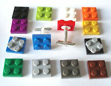 Plate Cufflinks made with LEGO parts Silver Plated wedding favour brick best man
