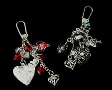 Bag Charm / Keychain with Heart Locket & Charms - Love, Great  Gift