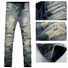 New Men Italy Style Fashion Distressed Destroyed Washed Jean W 28-38 (#698)