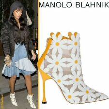 $1525 New Manolo Blahnik Margolotta White Yellow  Boots Ankle Booties Shoes 40