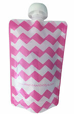 5, 10 & 20 Pack Pink Chevron | Nourish Reusable Baby Food Pouch