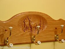 Oak Wall Coat & Hat Rack with Carved Whitetail Buck & Doe