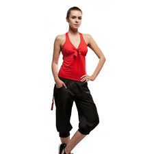 Racerback Sports Shelf Built-in Bra Top Red/Tapered Capri Pants Black Zip Pocket