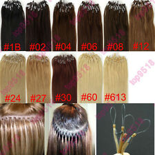 "New 18""20""22""100s Micro Ring Loop Remy Human Hair Extensions Multiple Colors"