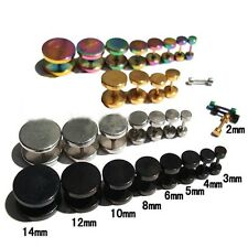 Punk Gothic Jewelry Stainless Steel Round Plain Men's Ear Stud Barbell Earring