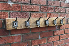 Vintage Cloakroom School style Coat Hat Rack label frame hooks No1-10 Country