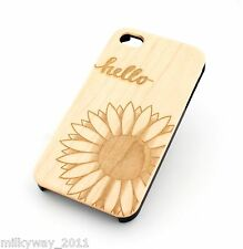 W98 REAL WOOD PLASTIC CASE COVER FOR IPHONE 5C HELLO SUNSHINE sunflower sun rose
