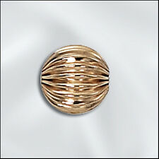 14kt Gold Filled Corrugated Round Beads, Fluted GF Beads, All Sizes. Made in USA