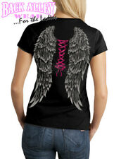 ANGEL WINGS w/ Sexy Pink Corset LADIES JUNIORS FIT T-SHIRT S-3XL CREW Neck SEXY!