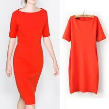 New Womens Fashion Orange Red Short Sleeve Cocktail Party Pencil Dress Gown SML