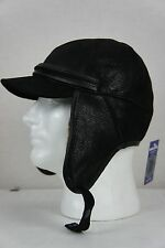 NEW 100% Shearling Leather Black Aviator Bomber Trapper Elmer Fudd Hunting Hat