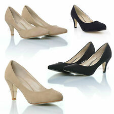 WOMENS LADIES STILETTO BLACK NUDE MID HEEL ROUNDED POINTED TOE COURT SHOES SIZE