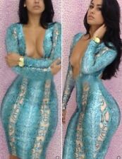 S M L Snake Pattern Sexy Womens Clubwear Open-Chest Party Bodycon Bandage Dress