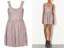 TOPSHOP SEXY LACE PLEATED MINK DRESS SIZE 8 10 12 14 £49 (MCR)