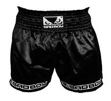 Bad Boy Black Muay Thai Shorts - MMA UFC Fight Wear White - 5* SERVICE