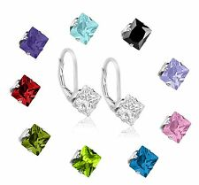 Sterling Silver CZ Square Princess 6mm Leverback Earrings ~ Many Colors