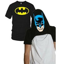 Batman Logo Flip-Up Face Mask Reveal T-Shirt Costume New