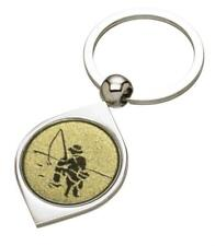 Fishing Silver Coloured Keyring - Mothers Day Fathers Day - free engraving - gif