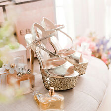 Womens High Heels Ankle Strap Open Toes Platform Glitter Stilettos Shoes