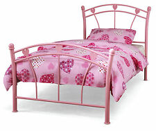 Hearts Design Pink Metal 2ft6 75cm Single Bed or with a Mattress