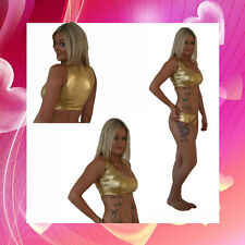 Gold Wet Look Fitness Pole Dancing/Yoga/Gym Top