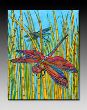 2 Dragonflies Artwork, Beach, Insects, Colorful Ceramic Tile Wall Art - 2 sizes
