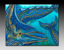 Heads or Tails, Artwork, Ocean, Beach, Dolphins, Ceramic Tile Wall Art - 2 sizes