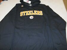 PITTSBURGH STEELERS HOODIE HOODDED SWEATSHIRT NWT BLACK APPAREL  EMBROIDERED