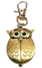 Custom engraved gold effect wise owl pendant keyring watch with gift pouch -L5GK