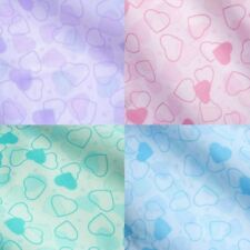 Tinted Pastel Colour Polycotton Fabric w/ Bold & Faded Hearts- 4 Colours *Per Mt