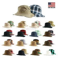 Womens Mens Summer Packable Casual Cotton Reversible Hiking Fishing Bucket Hat