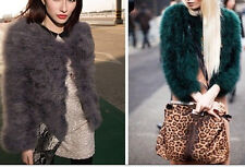 Fashion Gorgeous Women Warm Real Turkey Feather Fur Coat Parka Outwear 6 Color