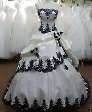 White and Black Embroidery Wedding Dress Bridal Gown Size