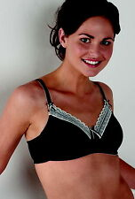 Black/Cream Royce Wire Free Mastectomy/Post Surgery/Pocketed Bra
