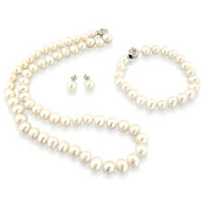 Semi-Baroque White 8mm Freshwater Pearl Necklace, Bracelet & Earrings Set