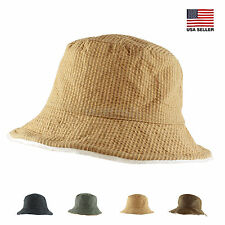 Womens Mens Spring Summer Reversible Packable Stripe Cotton Bucket Hiking Hat