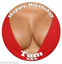 Boobs Birthday Personalised Icing Cake Topper party decoration boobies cleavage