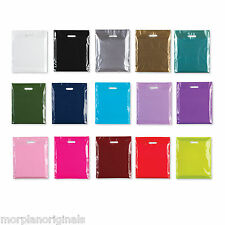Box of 100 200 300 500 1000 Coloured Strong Patch Handle Plastic Carrier Bags
