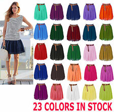 Double Layers Mini Short Sexy Skirts Pleated Retro High Waist Choose Colors
