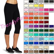 WOMEN STRETCH COTTON CAPRI LEGGINGS YOGA PANTS SLIM FIT COLOR GYM FITNESS