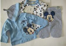 BLUE 4 PIECE MICKEY MOUSE SET 100% COTTON SIZES 1,3,6 AND 9 MONTHS