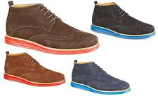 MENS FAUX SUEDE LACE UP BROGUES ANKLE BOOTS CASUAL DESERT BOOTS BOYS SHOES SIZE